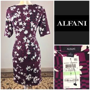 Alfani Floral Berry Stretchy Casual Dress sz 8